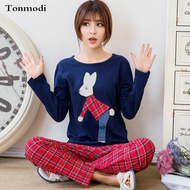 Pijamas Para As Mulheres Primavera E Outono-manga Longa de Algodão Sleepwear Pullover solta Pijama Set Lounge Pijama Casuais