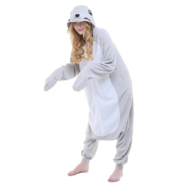 newcosplay adult grey seal cosplay costume cute unicorn halloween pajamas unisex sleepwear onesies womens pajamas sets