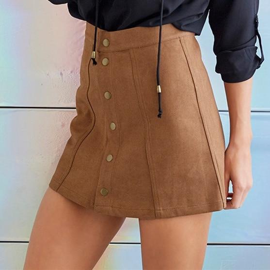 Aliexpress.com : Buy Preppy high waist leather skirt Button black ...
