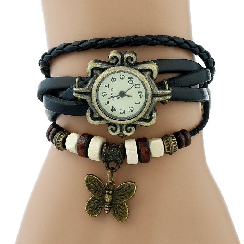Gnova платины Кожаный Браслет Бабочка Леди Винтаж наручные часы мятно-зеленый розовый фиолетовый Этническая мода A887 - Цвет: Черный