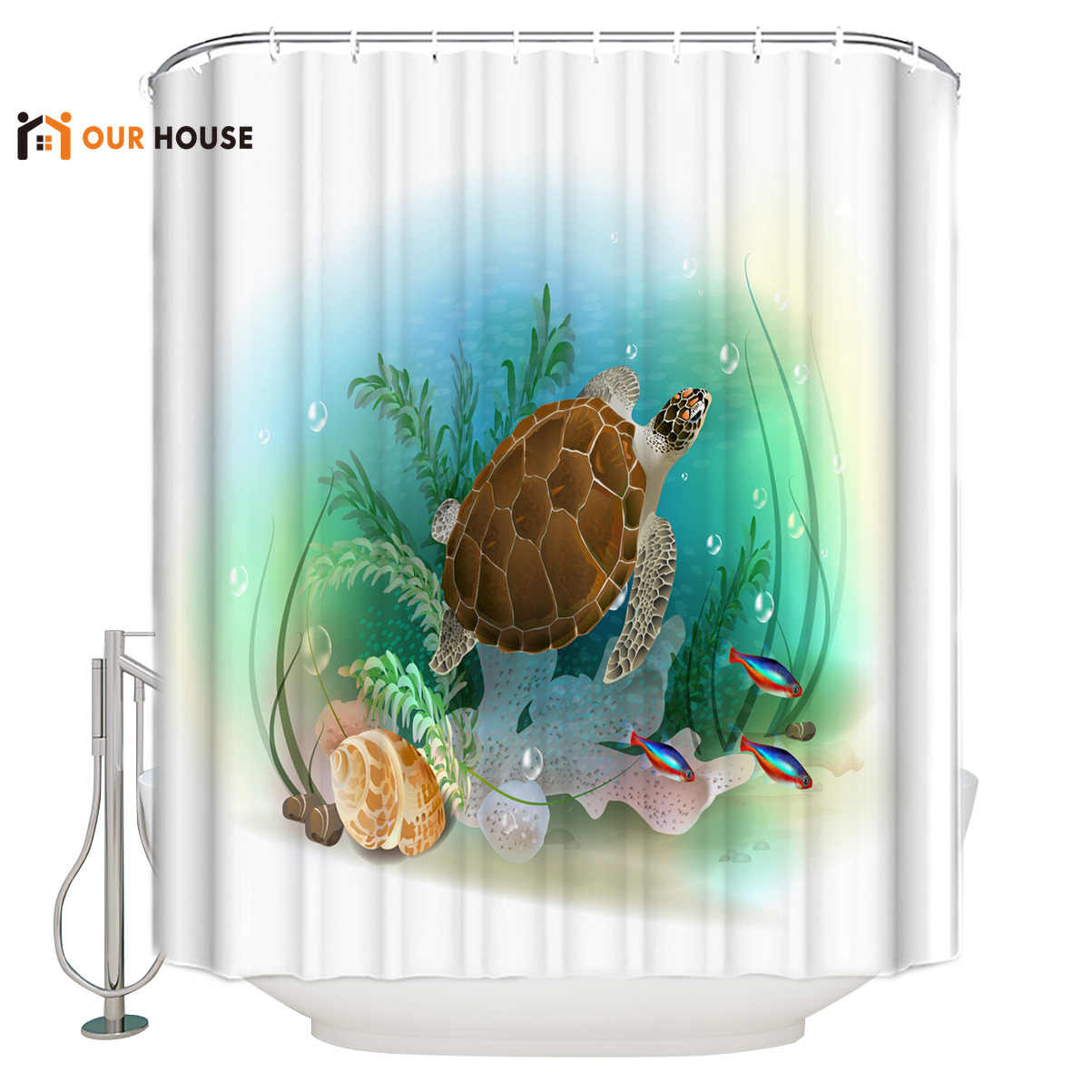 Ourhouse Undersea Animal Sea Turtle Shellfish Coral Fish Shower Curtain Fabric Bathroom Liner Childrens Modern Cloth Hotel Cu Shower Curtains Aliexpress