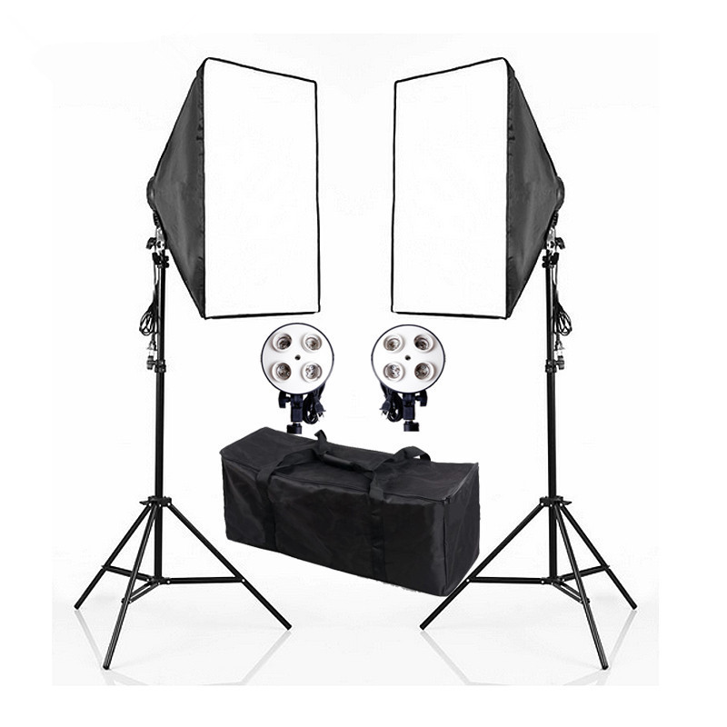 Lightupfoto 110V Photo Studio 4 Socket Head Softbox Light Stand Kit Continuous Lighting Kits With Free Carry Bag PSK6A-US ashanks photographic equipment 5 e27 socket lamp holder with 60x90cm softbox photo studio light tent box kit continuous lighting