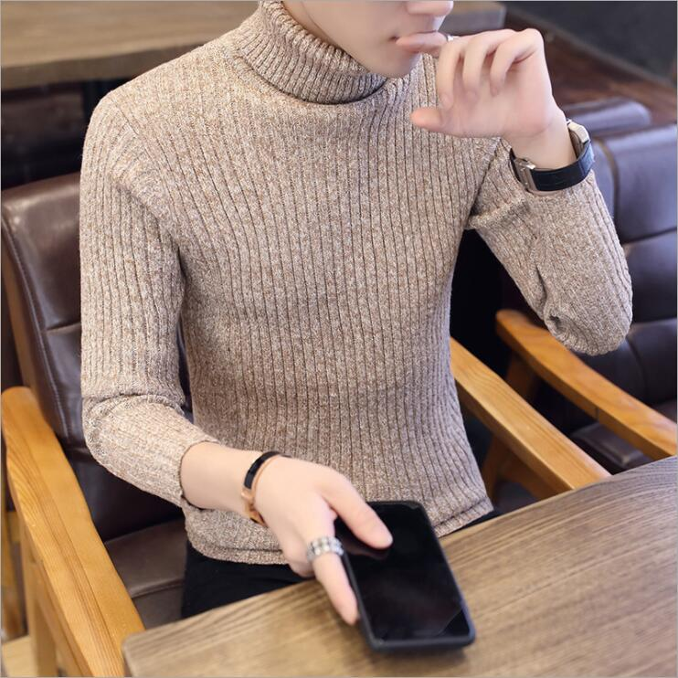 2018 Dark Khaki Men's Sweater Casual Sweater Male Comfortable Fashion Jacquard SweaterTurtleneck Pullovers Slim Fit Homme