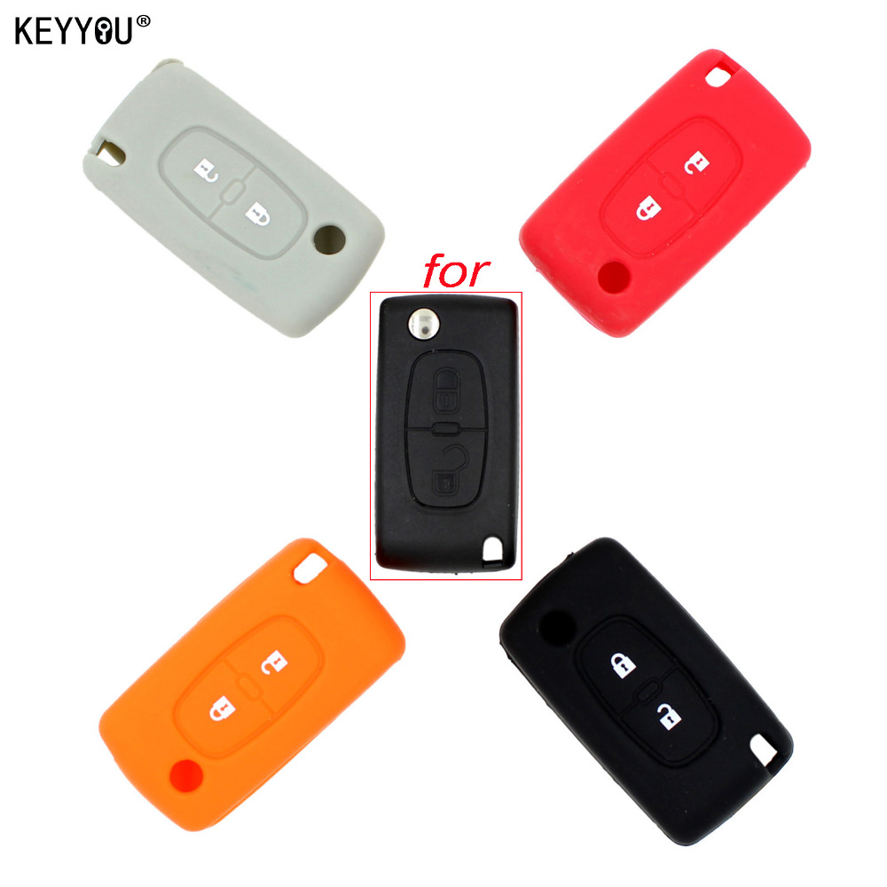 KEYYOU Silicone Remote Car Key Case Key cover for Peugeot 208 207 3008 308 508 408 2008 407 307 206 2 Button Citroen Sega C5 free shipping zinc alloy leather cover case car styling smart key shell for peugeot 2008 3008 4008 308s 408 508 car remote