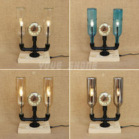 two bulbs wooden base waterpipe clock decoration winebottle desk lamp 4 color can be choosed