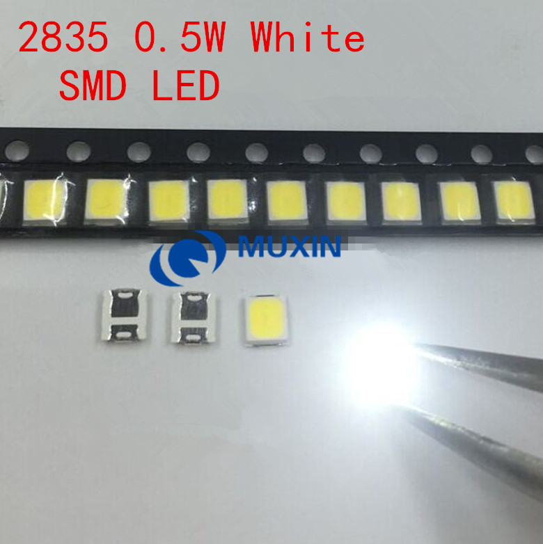 100pcs SMD 2835 Chip de Branco 0.5 W SMT 3V 150mA 50-55LM Ultra Brilhante 0.5 Watt Surface Mount PCB LED Light Emitting Diode Lamp