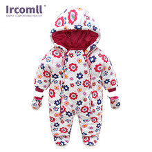 Ircomll Newborn Kids Jumpsuit Baby Rompers Winter Thick warm Kid Girls Boys Infant Clothing Camo Flower Hooded Outfit