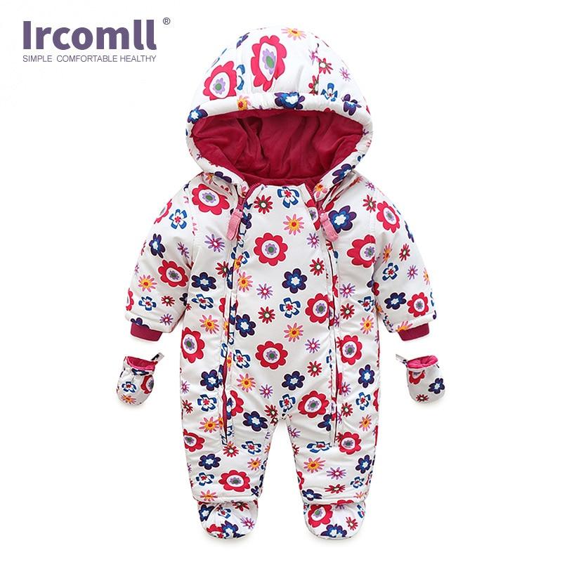 Ircomll/Детский комбинезон для новорожденных; детские комбинезоны; зимняя плотная теплая одежда для маленьких девочек и мальчиков; Одежда для младенцев; камуфляжная одежда с капюшоном и цветочным принтом для малышей
