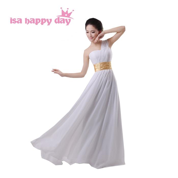 2019 Elegant Long One Shoulder Red Ivory Chiffon Dress Girl Bridesmaid Elegant Bridesmaids Girls Wedding Party Dresses H689