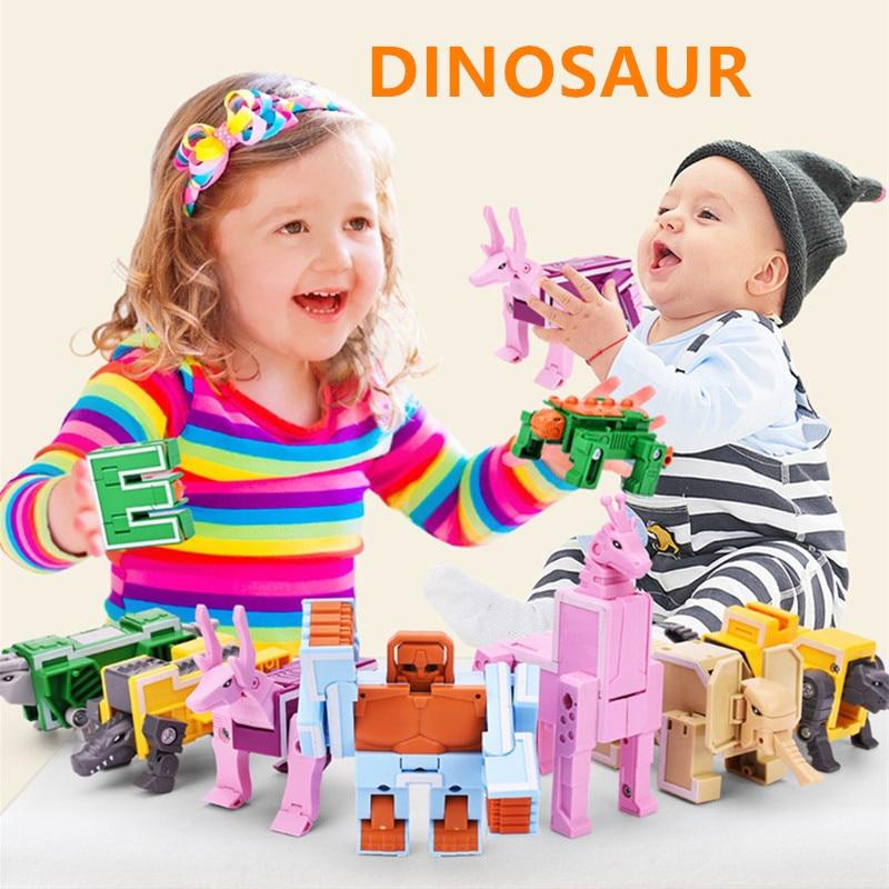 Anime Figures Transformation Series LegoINGLY Letter Transformer Dinosaurs Alphabet Robot Toy Fighter Model Building Blocks Toys