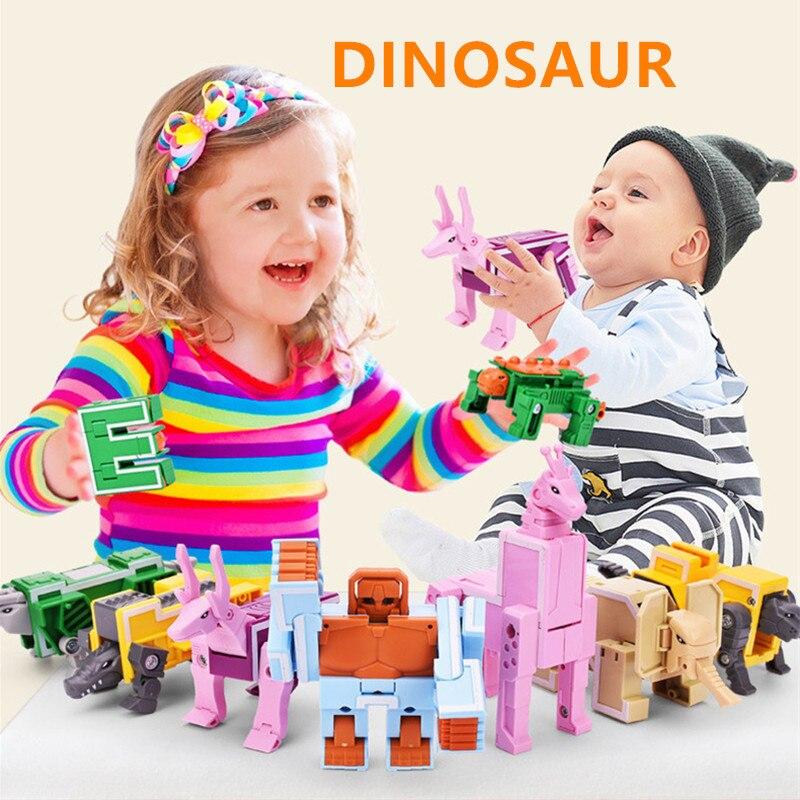 Anime Figures Transformation Series Letter Transformer Dinosaurs Alphabet Robot Toy Fighter Model LegoINGLs Building Blocks Toys