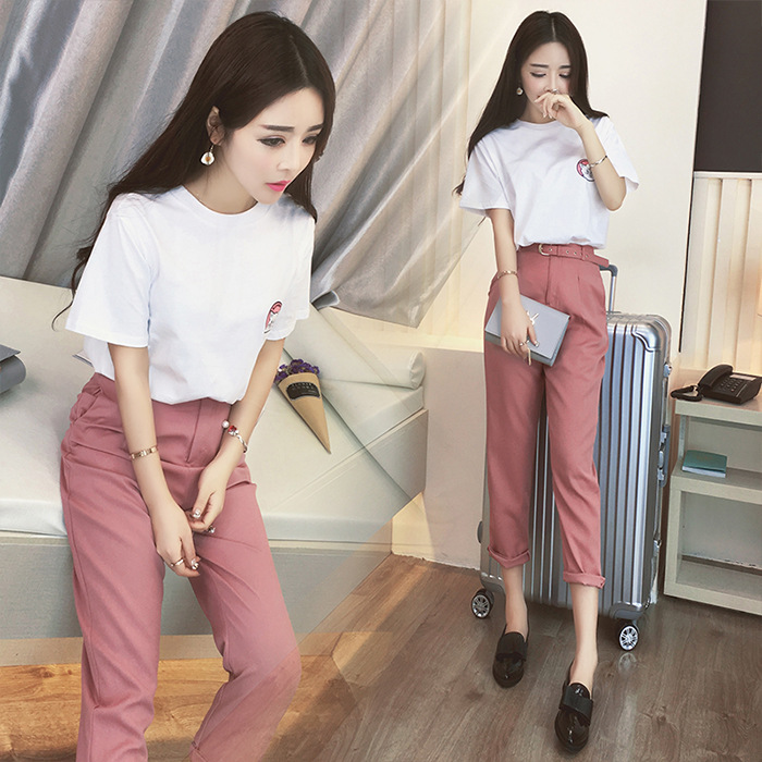 Women Summer Clothing Sets 2 Piece Outfit White T Shirt Belt Pink Pants Suits Women Summer Clothes