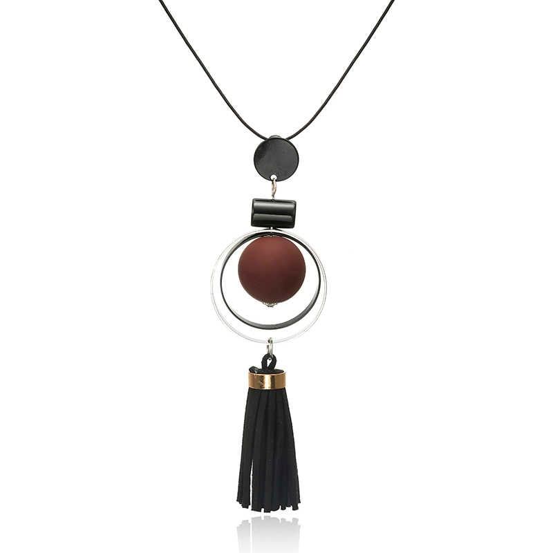 Nova moda vintage jóias em torno de contas de madeira cristal borla instrução colares & pingentes para as mulheres acrílico longo camisola corrente