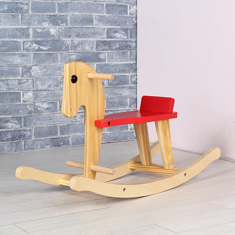 2 In1 enfants bois cheval à bascule cheval chaise jouet anniversaire cadeau cheval à bascule bébé videur chaise oscillante