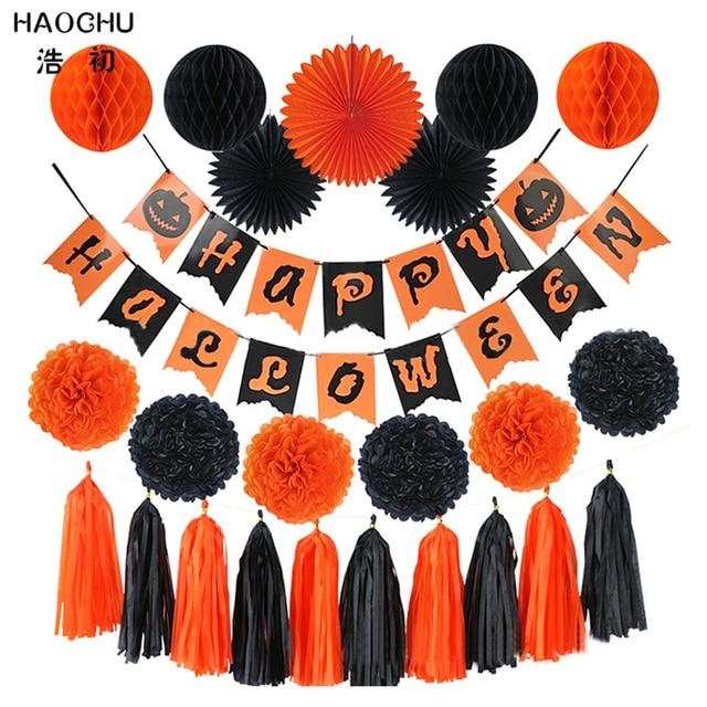 HAOCHU 24pcs/set Halloween Decoration Window Wall Hanging Tag Orange ...