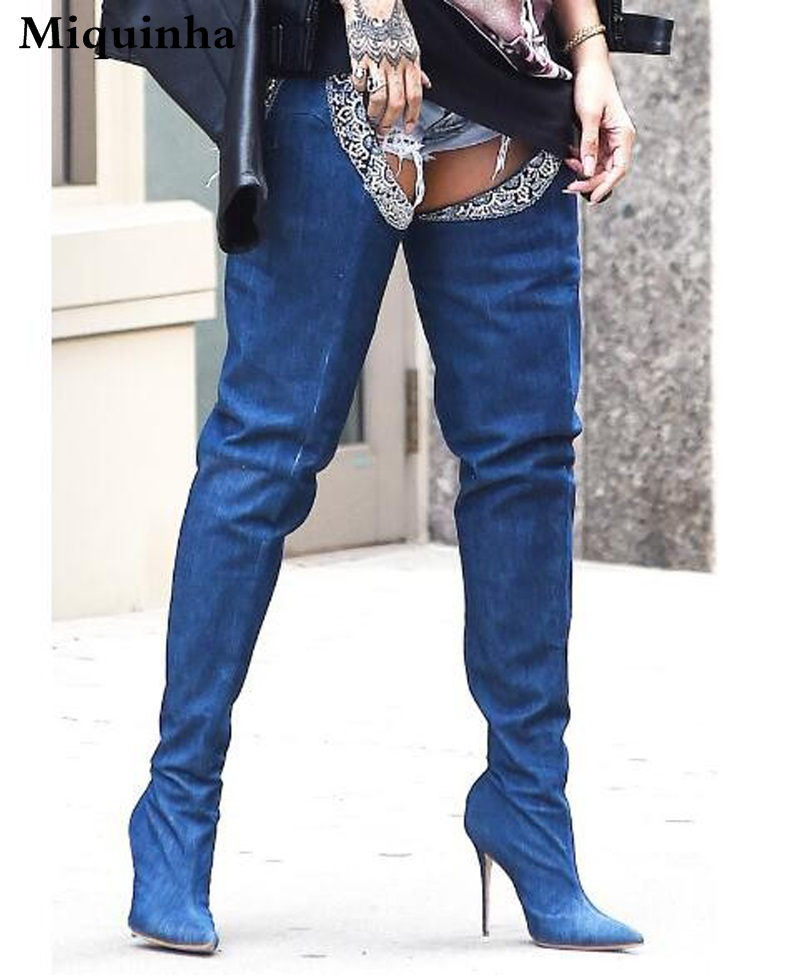 New Popular Women Fashion Pointed Toe Waist Long Denim High Heel Boots Sexy Thigh Jean Boots Buckle Design Boots Real Pictures