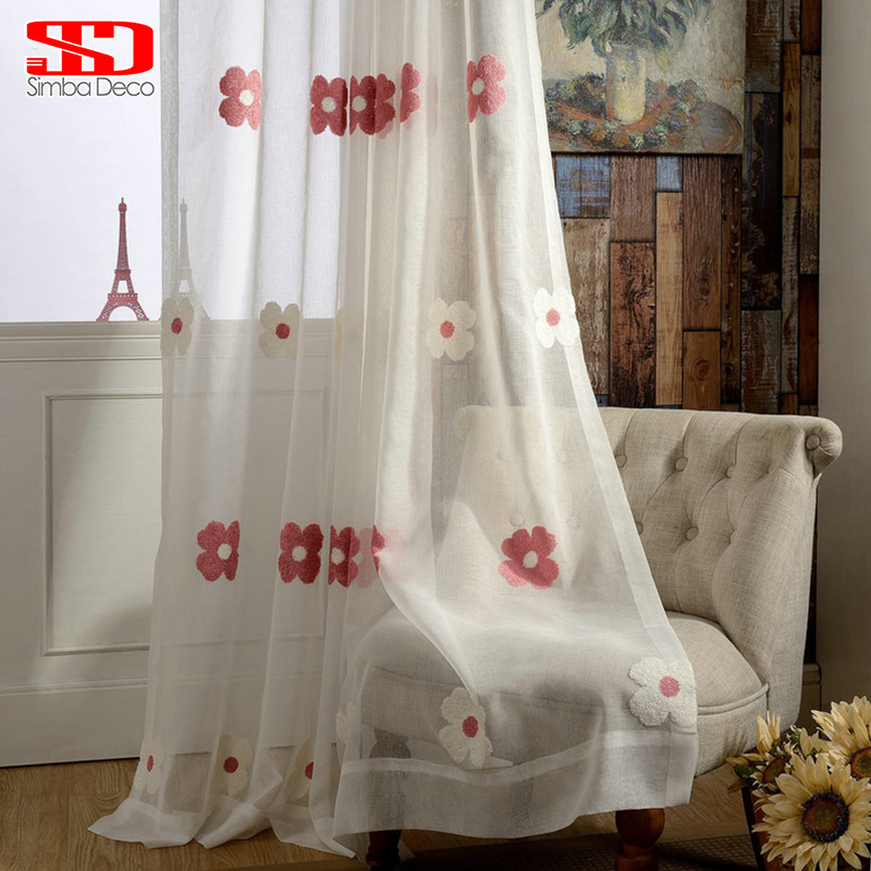Buy White Tulle Curtains For Living Room Kids Room Girls Red Floral Sheer