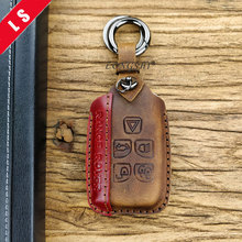 Leather Handmade Key Shell Case Keychain Car Bag Fob For Land Rover Range Evoque Discovery Buttons Cover