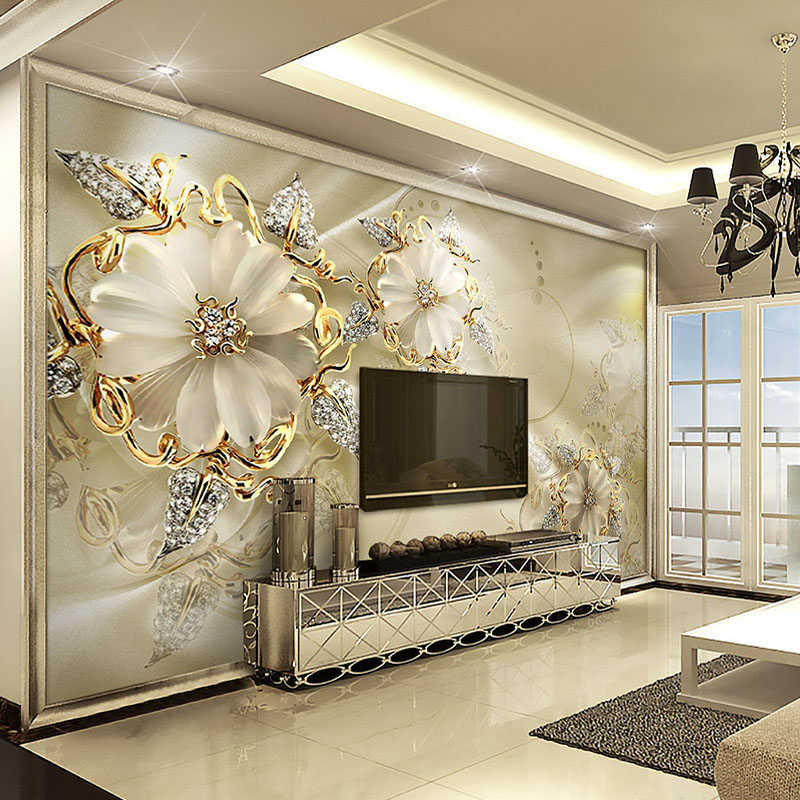 Custom 3D Mural Wallpaper European Style Diamond Jewelry Golden Flower Backdrop Decor Mural Modern Art Wall Painting Living Room custom 3d mural wallpaper european style diamond jewelry golden flower backdrop decor mural modern art wall painting living room