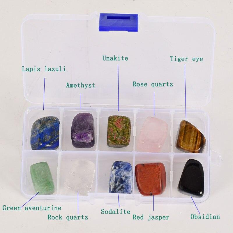 boîte de 10 pierres semi précieuses lapis lazuli, améthyste, unakite, quartz rose, œil de tigre, Aventurine verte, quartz blanc, sodalite, jaspe rouge et obsidienne