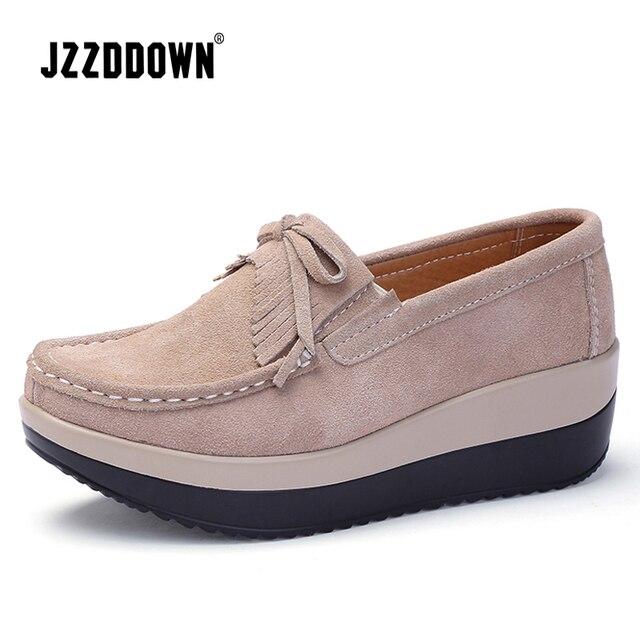 Zapatos De Cuero Mujer Casuales Genuino Plataforma Para 6qrt6x5Ow