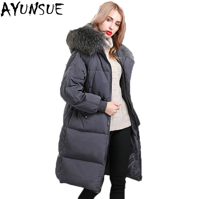 4bece8feb US $98.81 49% OFF|AYUNSUE Hot Sale Korean Fashion Down Jacket Women Duck  Down Long Hooded Jackets Natural Raccoon Fur Collar Female Parks LX2237-in  ...