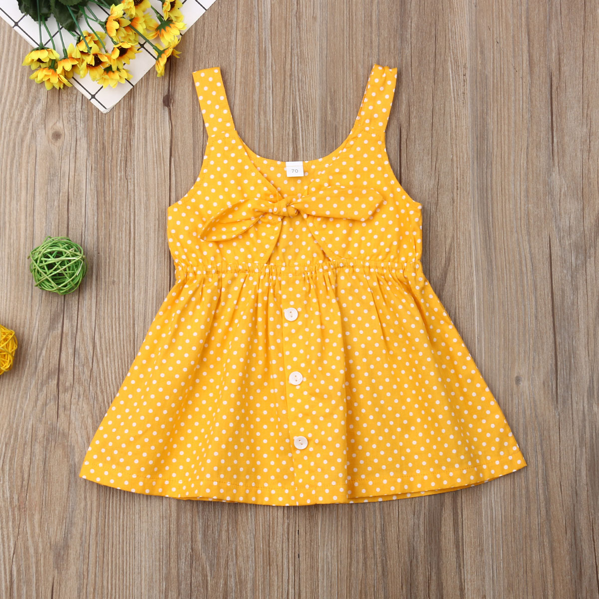 Emmababy Summer Newest Fashion Toddler Kids Baby Girl Clothes Sleeveless Solid Color Polka Dot Dress One-Piece Outfit Sundress