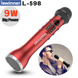 Lewinner Wireless Microphone Handheld Karaoke Bluetooth Speaker LED Display Screen TF Card Singing Recorder Sing Anywhere Anytim