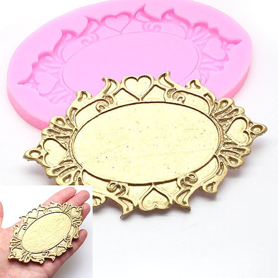 Christmas Vintage Oval Mirror Frame Silicone Moulds Cupcake Molds ...
