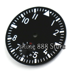 Watch accessories Parnis 38.9mm black sterial dial fit 6498 movement Watch dial Luminous white marks