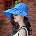 2017 Sombrero de Moda de Las Mujeres Plegable de Ala Ancha Beach Floppy Sombrero Del Verano femenino anti-ultravioleta de Calidad Superior Del Casquillo Headwear para las vacaciones