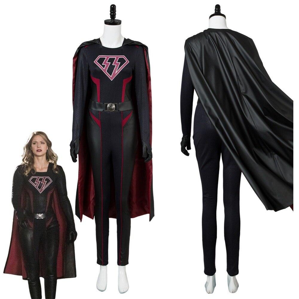 Supergirl Cosplay Costume Overgirl Kara Zor El Danvers Cosplay Costume Outfit Jumpsuit Cape