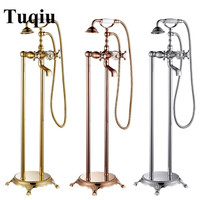 Total brass Gold/Chrome/Rose Gold Floor Standing Telephone Style Clawfoot bath and shower faucet set shower bathtub faucet