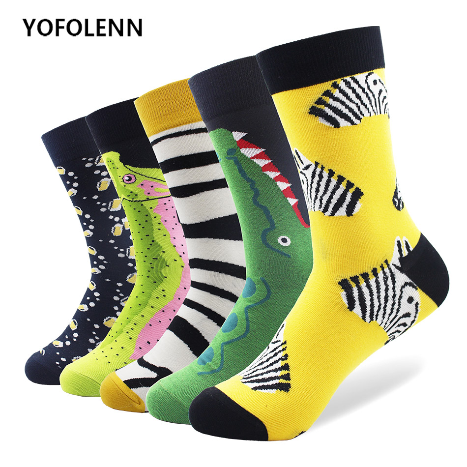 5 Pairs/lot Combed Cotton High Quality Men Socks with Animal Zebra Crocodile Pattern Design Happy Funny Crew Cool Casual Socks