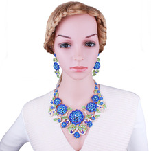 FARLENA Jewelry Hand Painted Multicolor Flowers Necklace Earrings Set With Rhinestones Fashion Bridal Wedding Jewelry Set