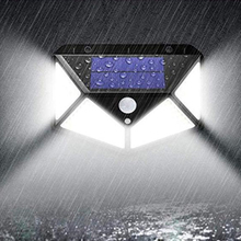 Outdoor Garden Solar Night Light 100LED Power Wall Lamp With 270 Degree Wide Lighting Angle  Waterproof Yard Security