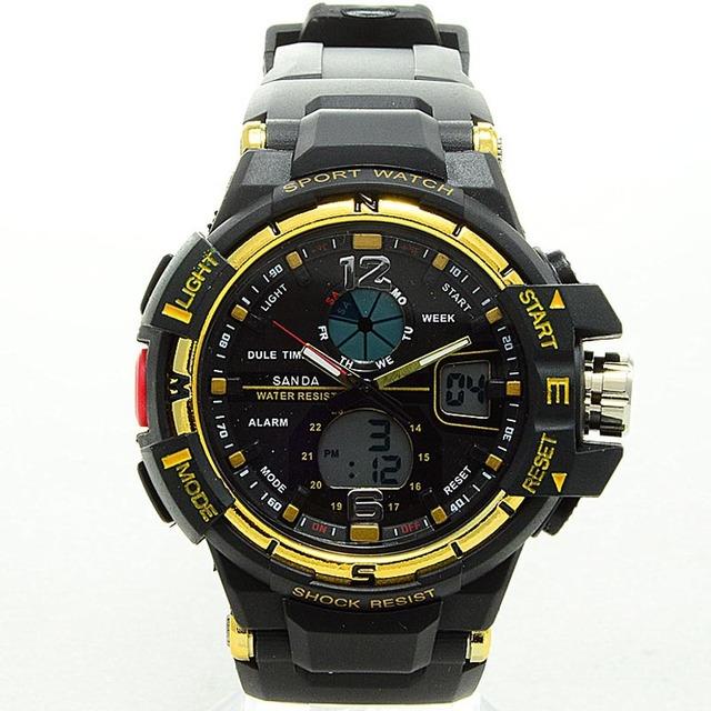 Homens relógios 2016 nova marca sanda homens esporte digital led assista casual militar multifuncional relógio de pulso resistente à água 5atm