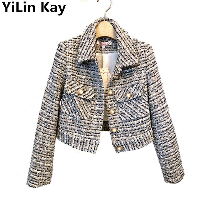 New Small fragrance Style Tweed Jacket Coat 2019 Autumn Winter Women Woolen Weave Long Sleeve Single