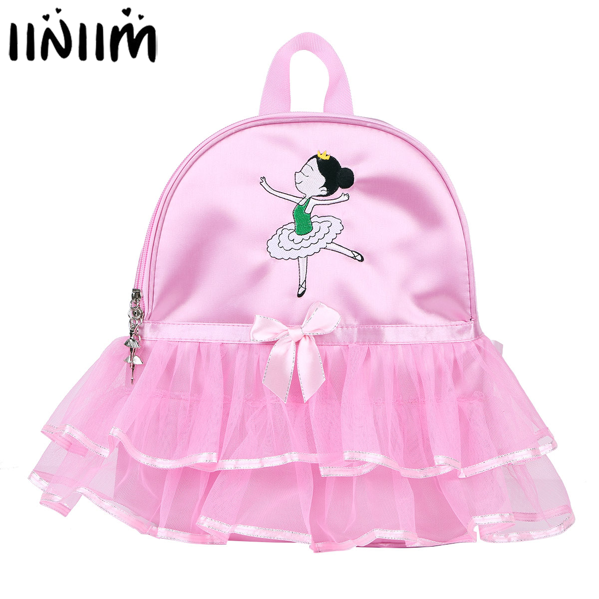 Kids Girls Ballet Dance Bag Students School Backpack Cartoon Girls Embroidered Tiered Ruffled Tutu Shoulder Bag