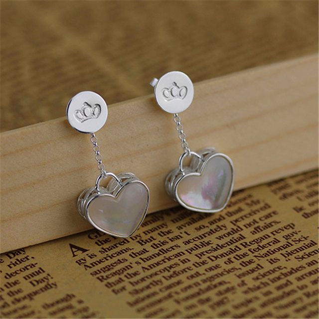 Clearance Sale Romantic Love Heart Dangle Earring Real 925 Sterling Silver Handmade Jewelry For Women Natural Mother of  Pearl