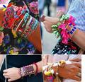 2014 New fashionable women's Boho Stylish Handmade knitting bracelets assorted colors fabric charm wristbands bijoux wholesale