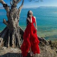 夏に2016新しいハン版ファッションホルターオフショルダー女性dressファルバラ不規則な大きなレッドシフォンdress