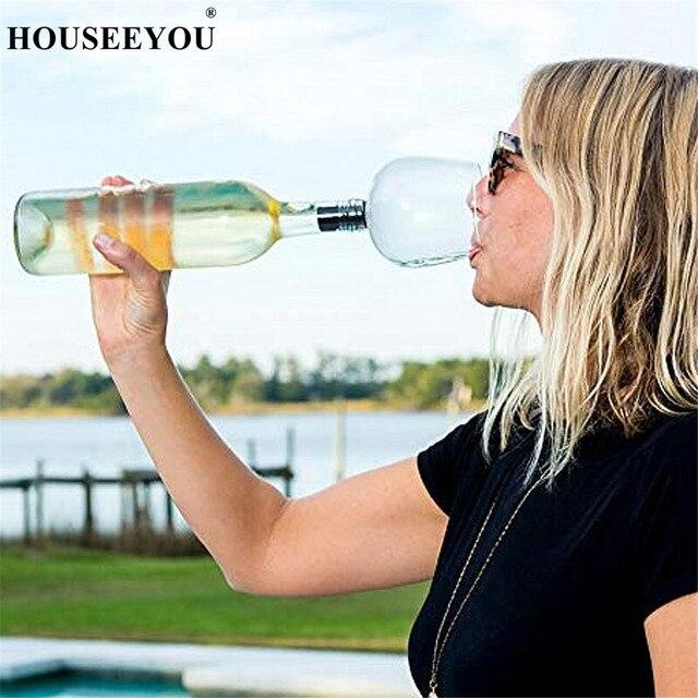 Houseeyou Creatieve Rode Wijn Champagne Glas Cup Met Siliconen Afdichting Drinken Direct Van Fles Crystal Bril Cocktail Mok 260 Ml