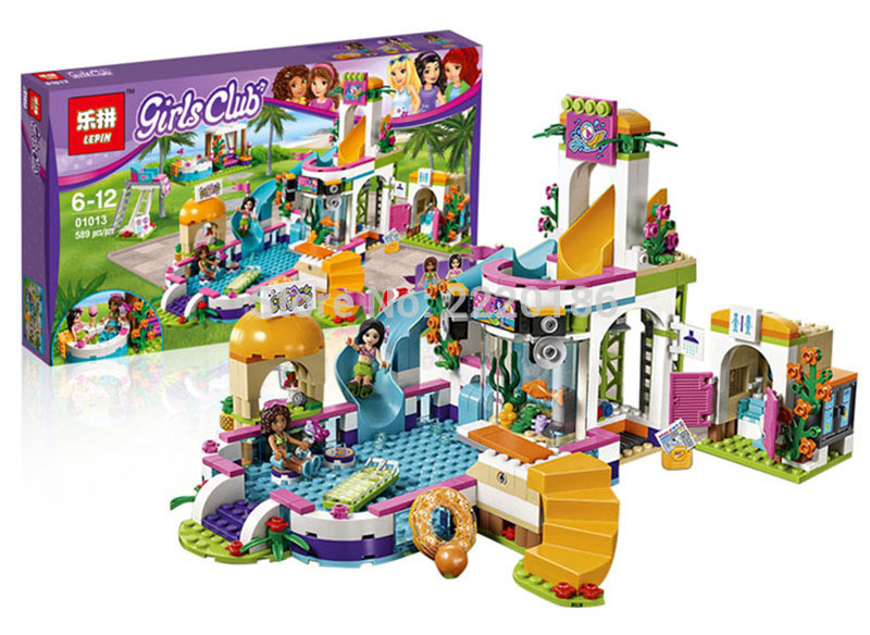Models Building Toy The Heartlake Summer Pool 589pcs 01013 Building Blocks Compatible Lego Friends 41313 figure Toys & Hobbies waz compatible legoe friends 41313 lepin 01013 589pcs building blocks the heartlake summer pool bricks figure toys for children