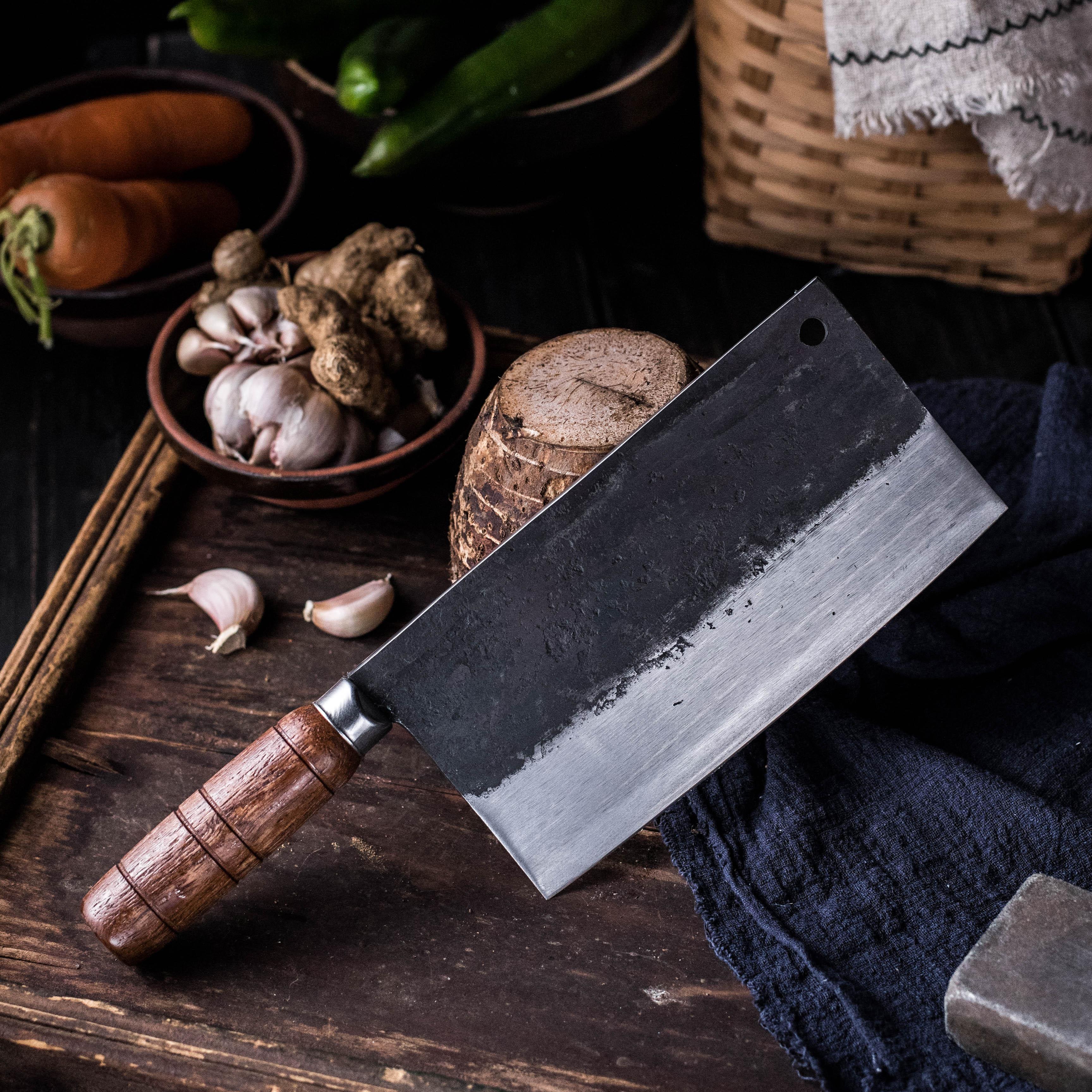 Couteau de cuisine pour la viande et les légumes | Fait à la main traditionnel de Style chinois, couteaux de cuisine, couteau spécial du Chef, trancheur ménager