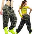 Jazz moda Más Tamaño Sueltan los pantalones de camuflaje para las mujeres uniforme Militar pantalones de Hip Hop danza Pantalones de bolsillo Grande