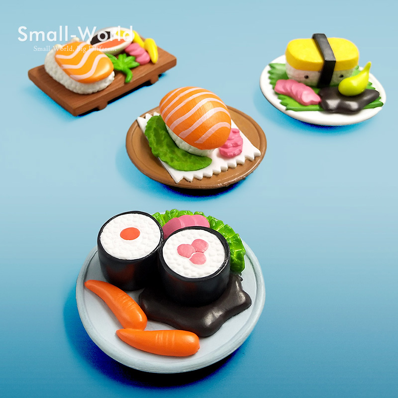 Diy Miniatyrmat Sushi figur Bonsai Decor Fairy Garden tecknad karaktärsstaty Modell kawaii Resin craft leksaker ornament