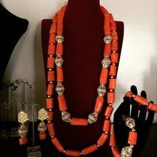 Dudo biżuteria naszyjnik i zestaw kolczyków duży koral koraliki nigerii wesela biżuteria zestaw biżuteria damska zestaw darmowa wysyłka 2019 nowy tanie tanio Moda Zestawy biżuterii TRENDY Ze stopu miedzi Ze stopu cynku Ślub Necklace Earrings Bracelet African Jewelry Set CORAL