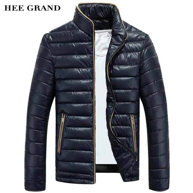HEE GRAND Men Stylish Parkas Stand Collar Cotton Material Solid Color Slim Fitted Warm Padded Thick Winter Overcoat MWM819