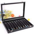 Free Shipping Black Jewelry Display Box Necklace Case Bracelet Holder Jewelry Chain Pendants Showcase With Glass Cover